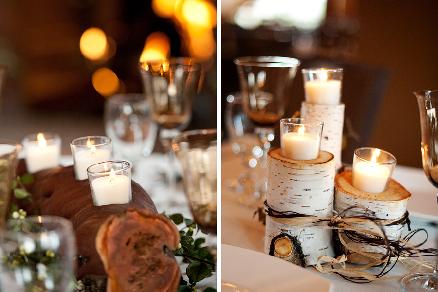 Heidi's father made all the candle holder centerpieces with his own wood
