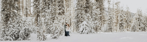 Snowy winter engagement photography