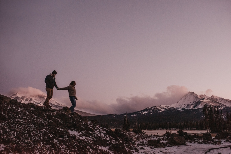 Bend Oregon Winter Engagement Mt Bachelor